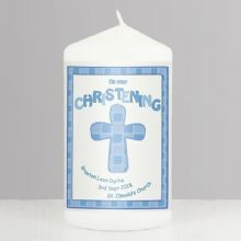 Personalised Blue Christening Candle P040974